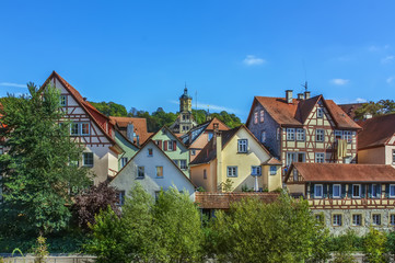 Fototapete - Half-timbered houses in Schwabisch Hall, Germania