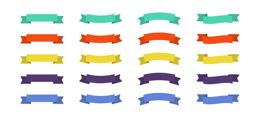 Ribbons flat set icon for concept design. Vector
