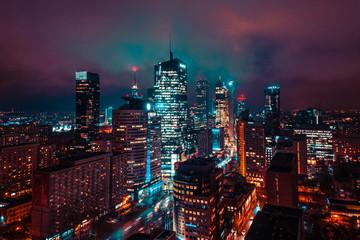 Fototapeta Warszawa nocą obraz
