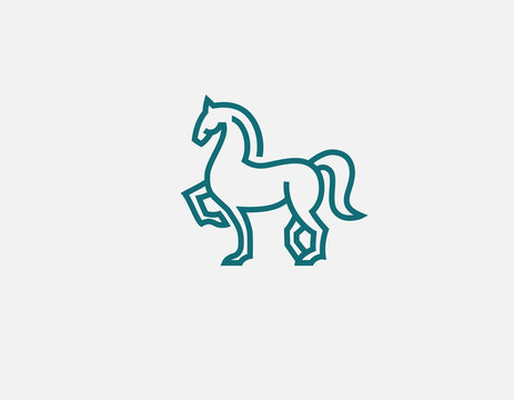Creative abstract linear logo horse icon for your company