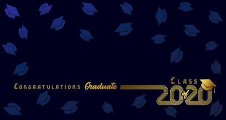 Class of 2020, congratulation graduate, gold lines design. Vector graduation illustration 2020 in golden academic cap on dark blue background with flying hats
