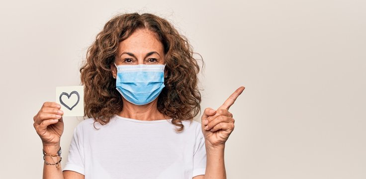 Middle age woman wearing coronavirus protection mask and holding love reminder on paper note smiling happy pointing with hand and finger to the side