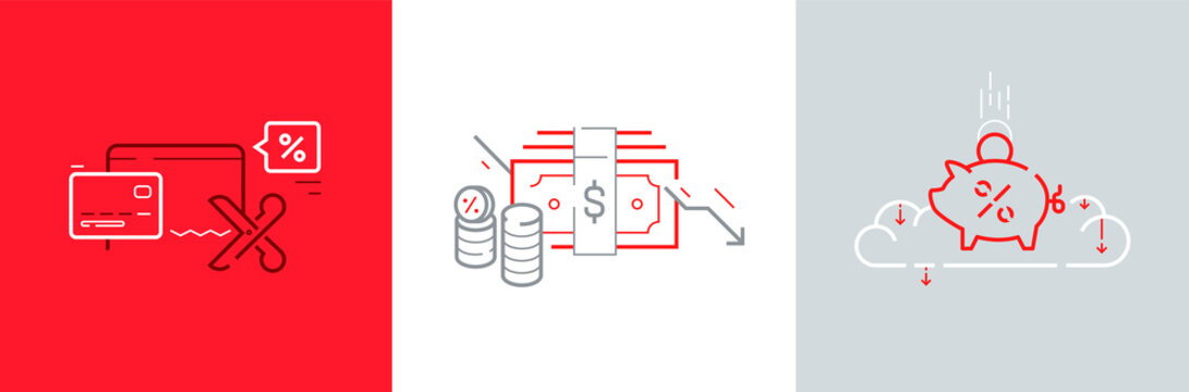 Fed rates cut icon set with mortgage percent, dollar, money, coins, credit card vector illustrations. World economic crisis and investment reduction. Essential business services support vector.