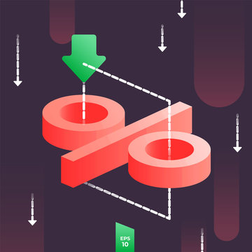Rates cut concept with 3d percent icon and arrow fallind down. Low cost in financial system or interest rate on dark background. Cheap oil or petroleum crisis vector illustration. Price discount, sale