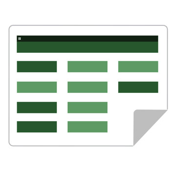 Flat vector icon of financial spread sheet. Business accounting document.