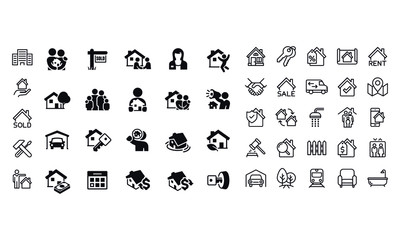 Home Real Estate icons vector design