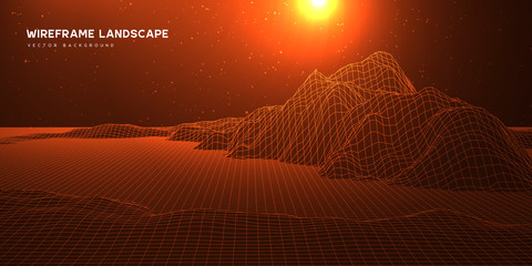 Digital wareframe landscape background with stars and sun on horizon. Abstract cosmic landscape. Big data. 3d futuristic technology vector illustration.