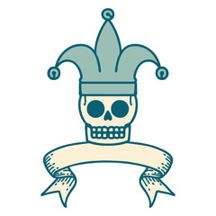 tattoo with banner of a skull jester