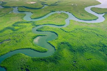 Fototapeten Pistazie Aerial view of Amazon rainforest in Brazil, South America. Green forest. Bird's-eye view.