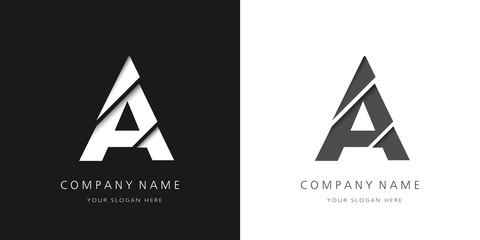 a letter modern logo broken design