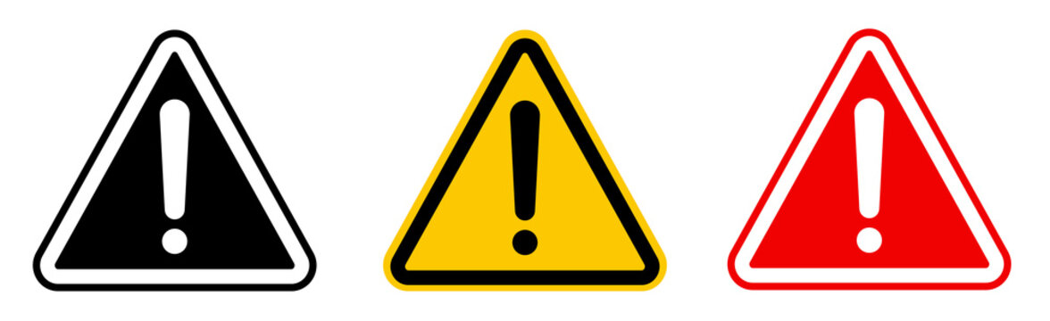 Caution alarm set, danger sign collection, attention vector icon, yellow, red and black fatal error message element, exclamation mark of warning attention icon
