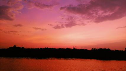 Fototapeten Rot kubanischen Scenic View Of Landscape Against Sky At Sunset