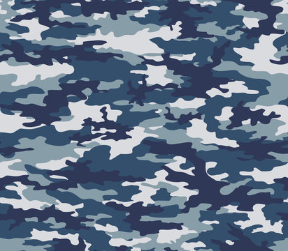 Blue seamless camo on textile. Military texture. Vector abstraction.