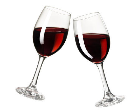 Toast with red wine glasses, cheers, isolated on white background