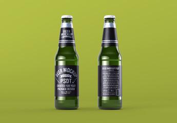 Realistic Mockup of Two Beer Bottles