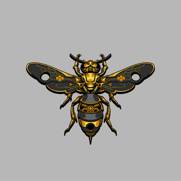 mechanical steampunk bee illustration and tshirt design