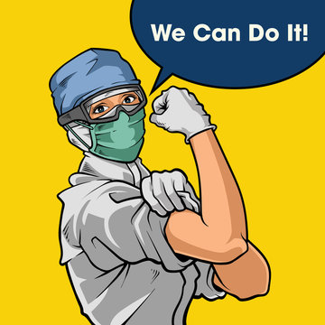 we can do it!. fight against corona virus disease. illustration and poster design