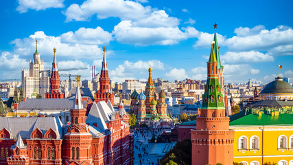 Printed kitchen splashbacks Moscow St. Basil's Cathedral ancient architecture on Red Square in Moscow City, Beautiful ancient architecture building in Moscow City, St. Basil's the blessed, Russia, Bucket list dream destination.