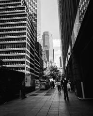 Fotobehang People Walking On Modern Office Buildings