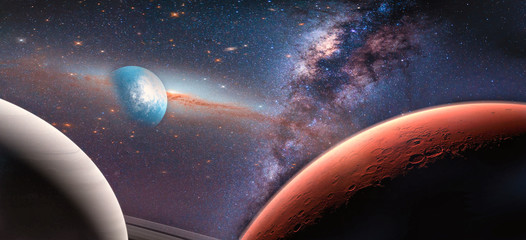 Wall Mural - Landscape galaxy, Planet and Earth view from space with Milky way galaxy. (Elements of this image furnished by NASA)