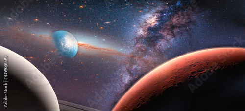 Wall mural Landscape galaxy, Planet and Earth view from space with Milky way galaxy. (Elements of this image furnished by NASA)