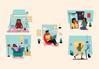 Family at Home Illustration Art Kit