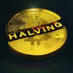 3d Illustration - Ein halbierter, goldener Bitcoin und die Botschaft Halving auf schwarzem Hintergrund - digitale Kryptowährung