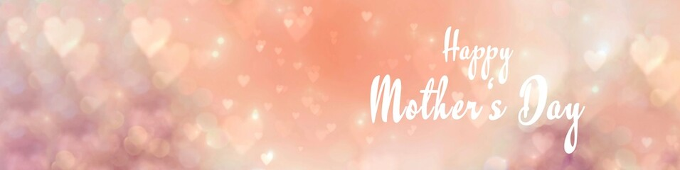 Fototapete - Happy Mother's Day background - abstract banner with hearts and text - greeting card