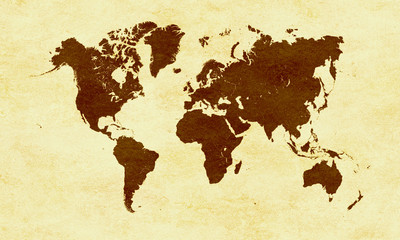 Brown World map on yellow paper background