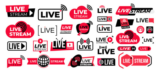 Mega set of live streaming vector icons. Red and black symbols and buttons of live streaming, broadcasting, online stream. Design for tv shows movies and live performances isolated on white background