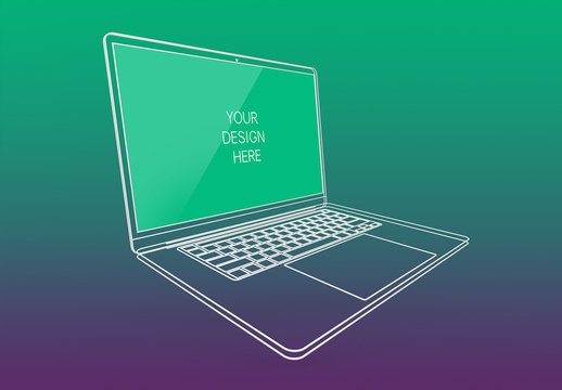 Wireframe Laptop  Screen Mockup with Editable Background