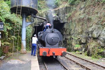 Rear View Of Men Filling Water In Steam Train