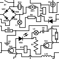 Circuit diagram seamless pattern. Electrical vector texture