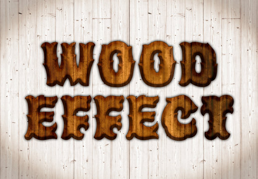 Wooden Text Effect Mockup