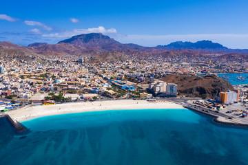 Foto auf AluDibond Himmelblau Aerial view of Laginha beach in Mindelo city in Sao Vicente Island in Cape Verde