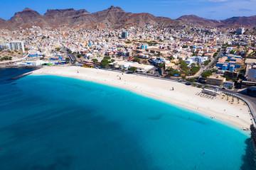 Foto auf Acrylglas Blau Jeans Aerial view of Laginha beach in Mindelo city in Sao Vicente Island in Cape Verde