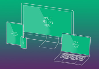 Isometric Wireframe Multi-Device Mockup with Editable Background