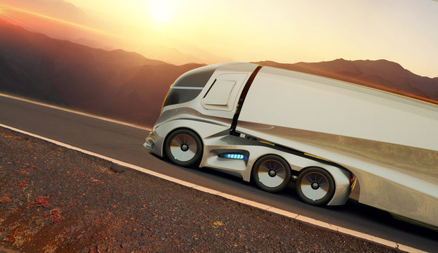3D rendering of a brand-less generic concept truck. Electric autonomous truck in outside environment