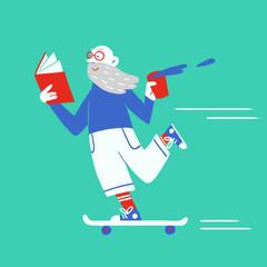 Old man skating and reading