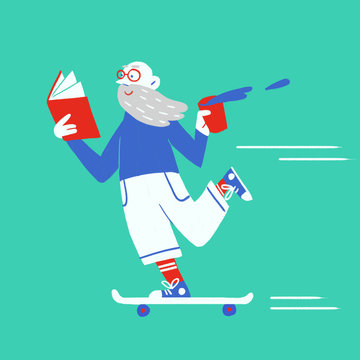 Illustration of old man reading book while skateboarding outdoors