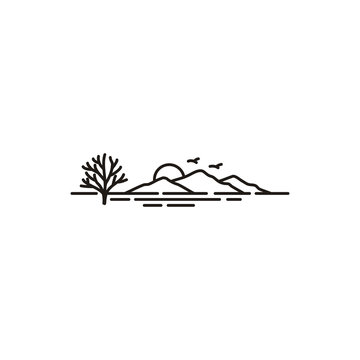 Sunset Island Lake Beach Sea Ocean  with Mountain Peak Hill logo design inspiration