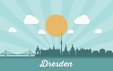 Fototapete - Dresden skyline - Germany - vector illustration