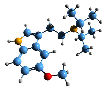 3D image of 5-MeO-DiPT skeletal formula - molecular chemical structure of  Foxy isolated on white background