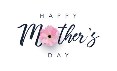 Happy Mother's Day template with pink flower. Vector illustration background. Fotomurales