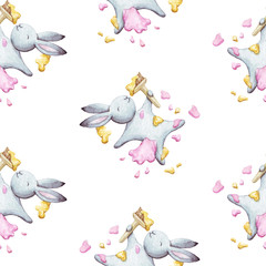 Cute seamless pattern watercolor cartoon bunny with brush and paint. Kids illustration. For baby textile, fabric, print and wallpaper.