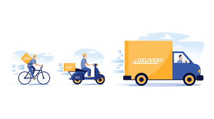 Door stickers Wall Decor With Your Own Photos Online delivery service concept, online order tracking, delivery home and office. Warehouse, truck, drone, scooter and bicycle courier, delivery man in respiratory mask. Vector illustration