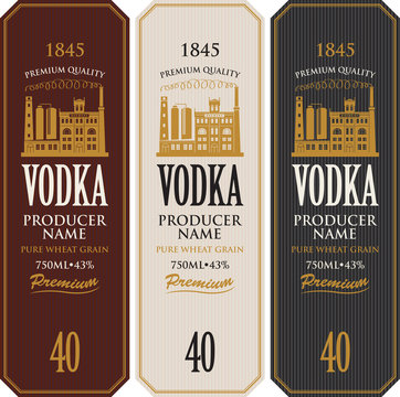 Set of vodka labels with the image of distillery building. Decorative vector labels for vodka in retro style. Premium quality, pure wheat grain, strong alcoholic beverage collection