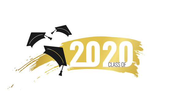 Class of 2020. Hand drawn brush gold stripe and number with education academic cap. Template for graduation party design, high school or college congratulation graduate, yearbook. Vector illustration.