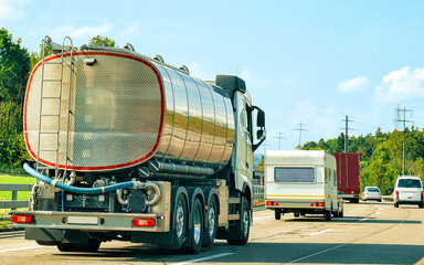 Tanker storage vessel on road in canton Geneva of Switzerland reflex Wall mural