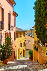Wall Mural - Street in Santarcangelo di Romagna on sunny day